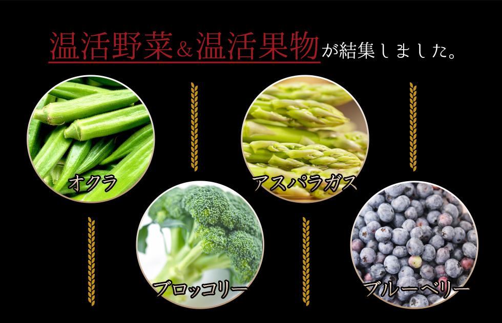 温活野菜&温活果物が結集しました。オクラ アスパラガス ブロッコリー ブルーベリー