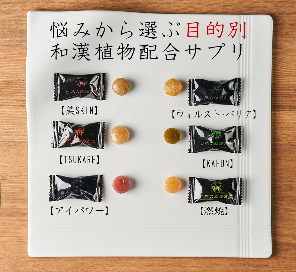 【燃焼】【アイパワー】【美SKIN】【TSUKARE】【KAFUN】【ウィルスト・バリア】のど飴風和漢サプリ