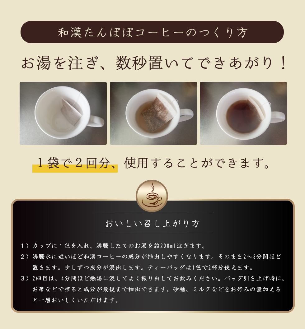 和漢たんぽぽコーヒーのつくり方